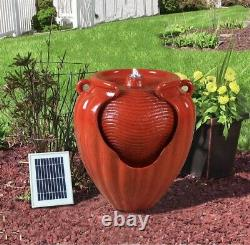 Battery Backup Garden Solar Power Red Ceramic Effect Water Fountain Feature