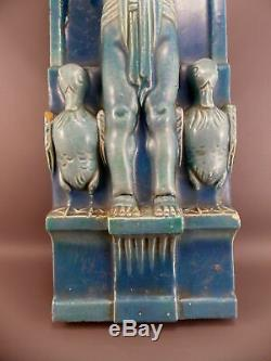 Beautifull Exceptional Art Nouveau Majolica Wall Water Fountain Antique 1850