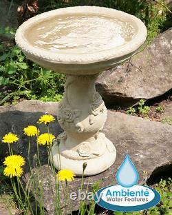 Birdbath Water Fountain Feature Classical Floral Rose White Stone Effect Garden