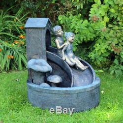 Boy/girl Kids Sliding Water Fountain Garden Feature Indoor Outdoor Ornament Wido