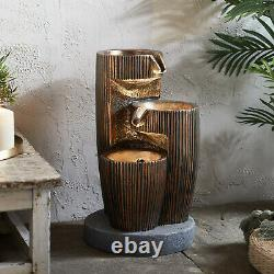 Bronze Cascading Bowls LED Fountain Garden Water Feature 48cm Plug In Lights4fun