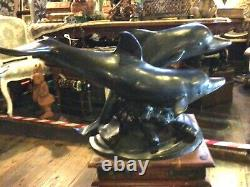 Bronze Dolphins Large Garden Sculpture Pond Water Fountain Cast Metal 100cm 35kg