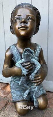 Bronze Fountain Water Feature Boy holding Frog 53cm High Garden Sculpture