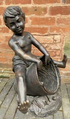 Bronze Sculpture Water Feature / Fountain Boy with Bucket Outdoor Garden