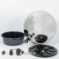 Brushed Stainless Steel Sphere Water Feature Fountain Garden & Lights 75cm