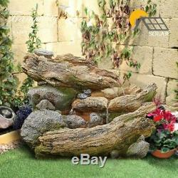 Bubbling Woodland Garden Water Feature, Solar Powered Outdoor Fountain