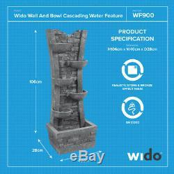 CASCADING WATER FEATURE WALL AND BOWL GARDEN OUTDOOR FOUNTAIN Wido