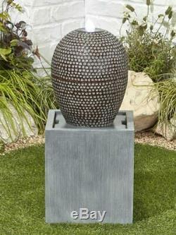 Cascade WATER FEATURE LED Light Garden Fountain Tall Orb Sphere Natural Ball