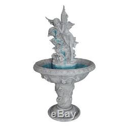 Cascading Waterfall Winged Fairy Angelic Water Feature Garden Pedestal Fountain