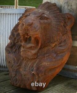 Cast Iron Lion Head Fountain Statue Garden Water Feature Decor Animal Ornament