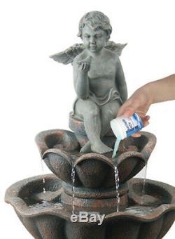 Cherub Birdbath Water Fountain Feature Solar Powered Classic Stone Effect Garden