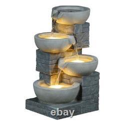 Columns 4 Tier Jar Jug Water Feature Fountain Cascade Garden Stone Effect New