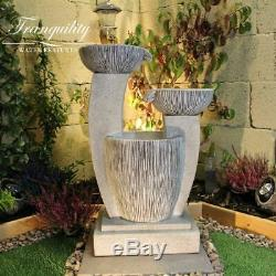 Compact 3 Bowl Contemporary Garden Water Feature, Outdoor Fountain Great Value