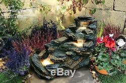 Compact Slate Cascade Rock Cascade Garden Water Feature, Outdoor Fountain