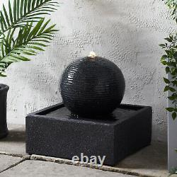 Dark Grey Sphere LED Fountain Garden Water Feature 36.5cm Plug In Lights4fun