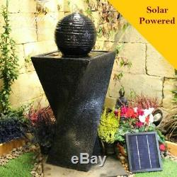 Day and Night Contemporary Garden Water Feature, Solar Powered Outdoor Fountain