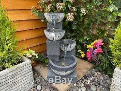 Eclipse 4 Bowl Contemporary Solar Powered Garden Water Feature, Outdoor Fountain