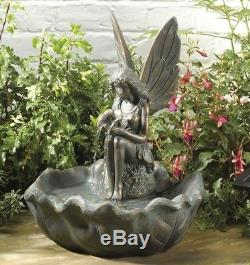 Fairy Fountain Garden Water Feature Solar Powered Self Contained Bronze Effect