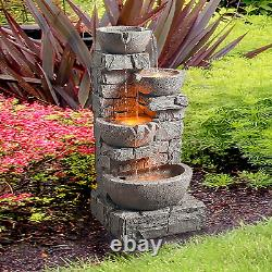 Floor Stacked Stone 4 Tiered Bowl Waterfall Water Fountain Patio Garden LED Pump
