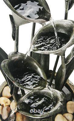 Flower Cup Water Feature Fountain Cascade Solar Powered Floral Plant Garden