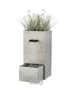 Fountain Herb Planter Waterfall Water Feature with Lights Outdoor Garden Cascade