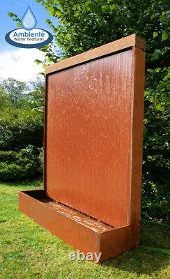 Free Standing Wall Partition Water Feature Fountain Cascade Corten Steel Garden