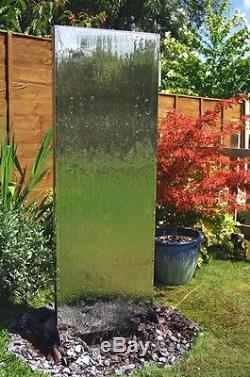 Free Standing Wall Water Feature Fountain Cascade Contemporary Steel Garden
