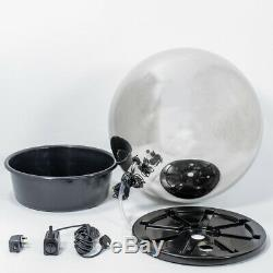 Garden Brushed Stainless Steel Sphere Water Feature Fountain with LEDs 28cm