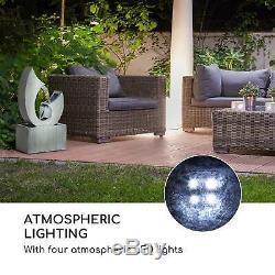 Garden Fountain Indoor Outdoor LED Water Cascade 8W Metal Home Decor