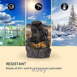 Garden Fountain Outdoor Indoor Home Cascade 2,5 W LED Polyresin Anthracite