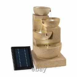Garden Fountain Solar Outdoor Cascade Water Pump Decor 3W LED Sandstone Look