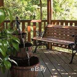 Garden Fountains Water Outdoor Cascade Feature Wood Cast Iron Pump Decorative