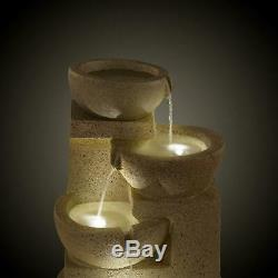 Garden Fountains Water Outdoor Solar Powered 3W Cascade Sandstone Look Pump LED