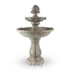 Garden Fountains Water Outdoor Solar Powered Bird Bath Stone Look Pump Feature