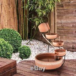 Garden Fountains Water Outdoor Solar Powered Cascade Feature Terracotta Pump LED