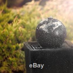 Garden Fountains Water Outdoor Solar Powered Pump Pond Feature LED Light Basalt