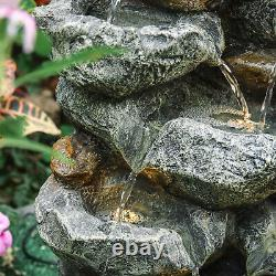 Garden Ornament Fountain Stone Waterfall Solar Outdoor Water Feature LED Lights