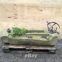 Garden Path Water Element Pond Natural Stone Trough Fountain Bird Bath Sundial