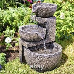 Garden Solar Water Feature Cascade Fountain Waterfall Outdoor Ornament