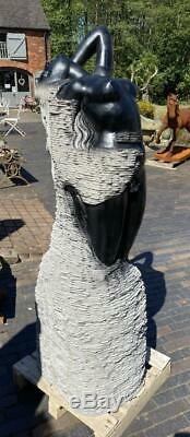 Garden Water Feature Fountain Hand Carved Marble Lady Abstract 157cm High