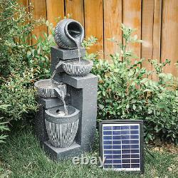 Garden Water Feature LED Light Solar Power Pump Outdoor Cascading Fountain Decor