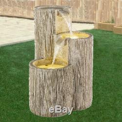 Garden Water Fountain 3 Column LED Light Feature Outdoor Furniture Decor Patio