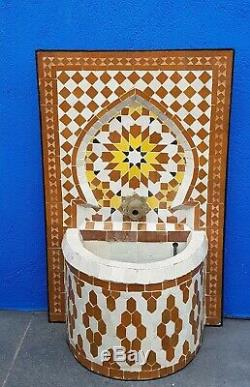 Garden Water Fountain, Small Moroccan Mosaic Outdoor Water Feature H50cm W33cm