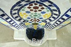 Garden Water Fountain, Small Moroccan Mosaic Zellige Outdoor Water Feature H77cm