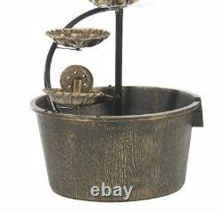 GardenKraft Copper 1 Tier Cascading 4 Lotus Leaves Barrel Water Fountain + Light