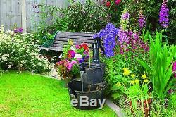 GardenKraft Garden Outdoors 2-Tier Barrel Water Fountain with Pump Bronze