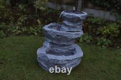 Gardenwize Garden Outdoor Solar Powered Cascading Rock Water Fountain Feature