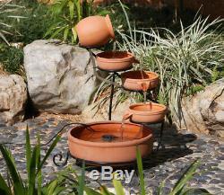 Gardenwize Garden Solar Powered Brown Terracotta Cascade Water Fountain Feature