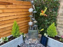 Grand Zinc Flower Contemporary Garden Water Feature, Outdoor Fountain