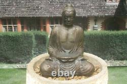 Granery Tub With Serene Buddha Stone Water Fountain Feature Garden Ornament